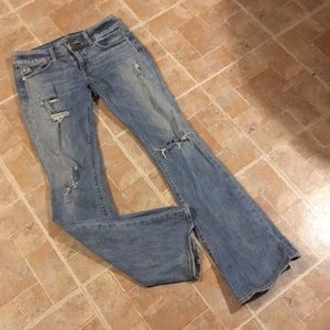 American Eagle distressed artist jeans size 0